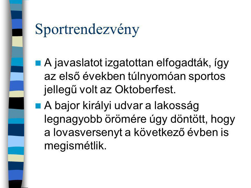 Sportrendezvény A javaslatot izgatottan elfogadták, így az első években túlnyomóan sportos jellegű volt az Oktoberfest.