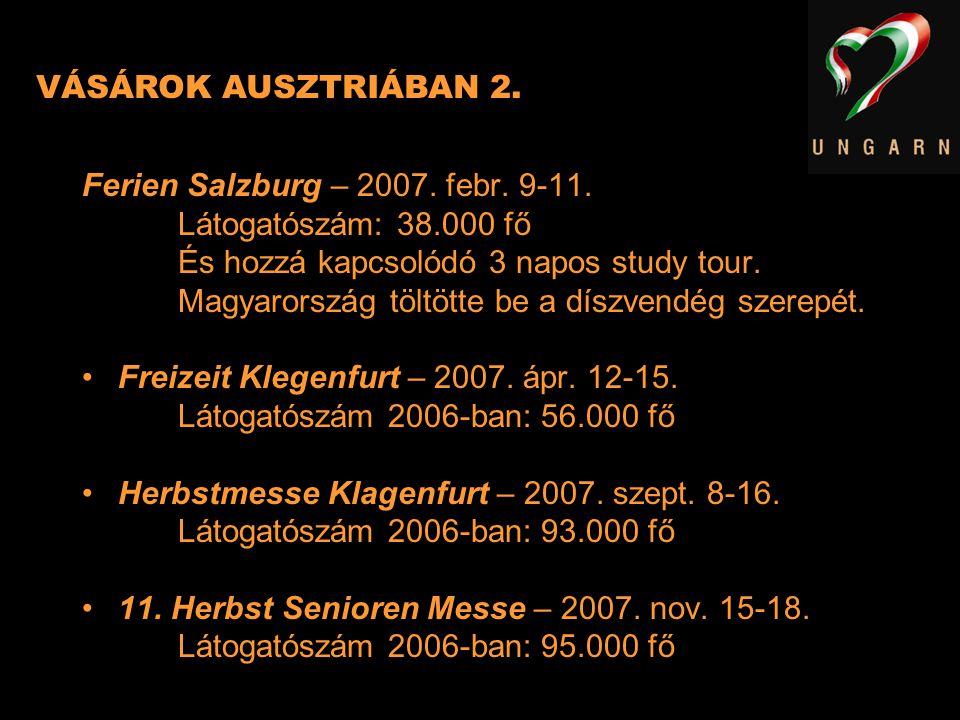 VÁSÁROK AUSZTRIÁBAN 2. Ferien Salzburg – 2007. febr. 9-11. Látogatószám: 38.000 fő És hozzá kapcsolódó 3 napos study tour. Magyarország töltötte be a