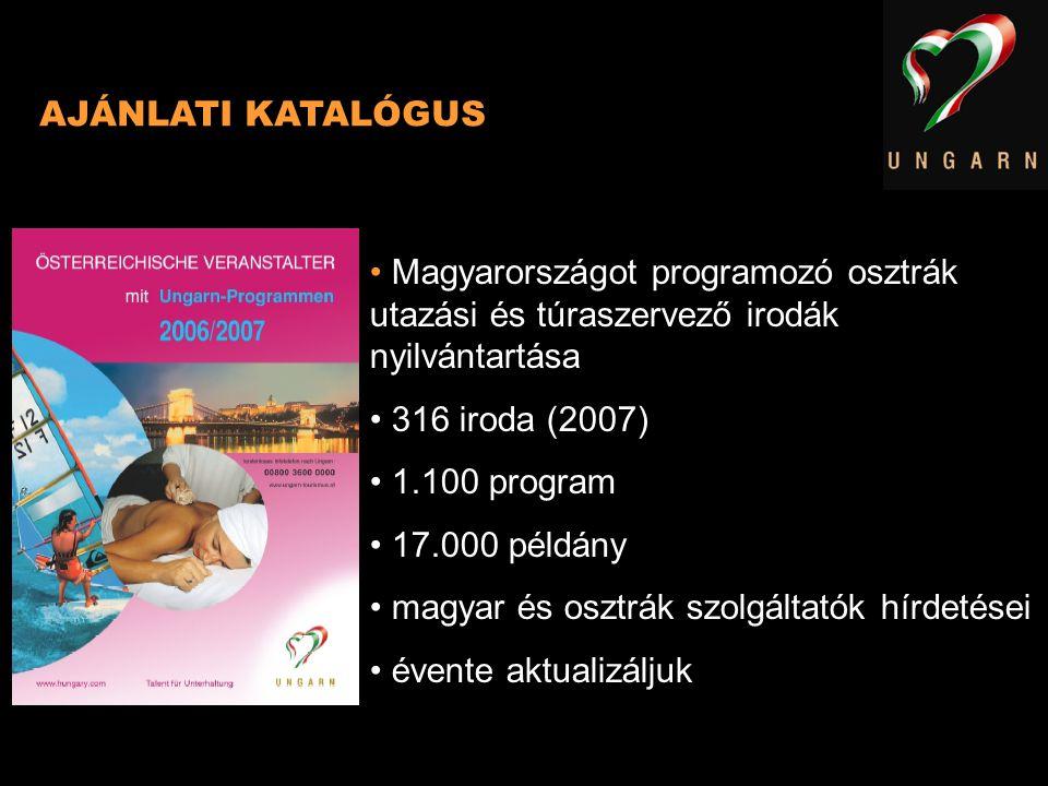 AJÁNLATI KATALÓGUS Magyarországot programozó osztrák utazási és túraszervező irodák nyilvántartása 316 iroda (2007) 1.100 program 17.000 példány magya