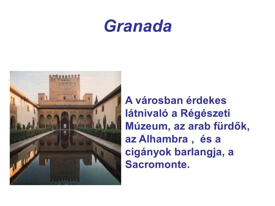 Granada A városban érdekes látnivaló a Régészeti Múzeum, az arab fürdők, az Alhambra, és a cigányok barlangja, a Sacromonte.