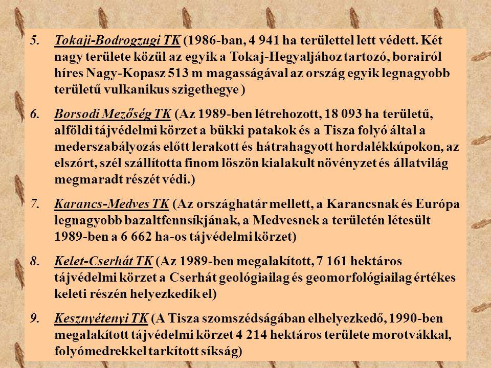 5.Tokaji-Bodrogzugi TK (1986-ban, 4 941 ha területtel lett védett. Két nagy területe közül az egyik a Tokaj-Hegyaljához tartozó, borairól híres Nagy-K