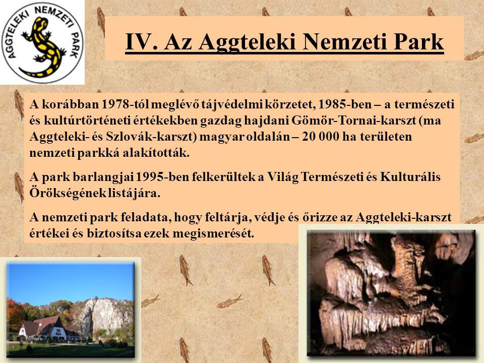 IV. Az Aggteleki Nemzeti Park A korábban 1978-tól meglévő tájvédelmi körzetet, 1985-ben – a természeti és kultúrtörténeti értékekben gazdag hajdani Gö
