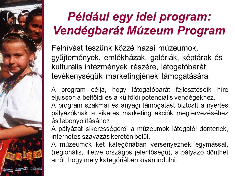 Például egy idei program: Vendégbarát Múzeum Program Felhívást teszünk közzé hazai múzeumok, gyűjtemények, emlékházak, galériák, képtárak és kulturális intézmények részére, látogatóbarát tevékenységük marketingjének támogatására A program célja, hogy látogatóbarát fejlesztéseik híre eljusson a belföldi és a külföldi potenciális vendégekhez.