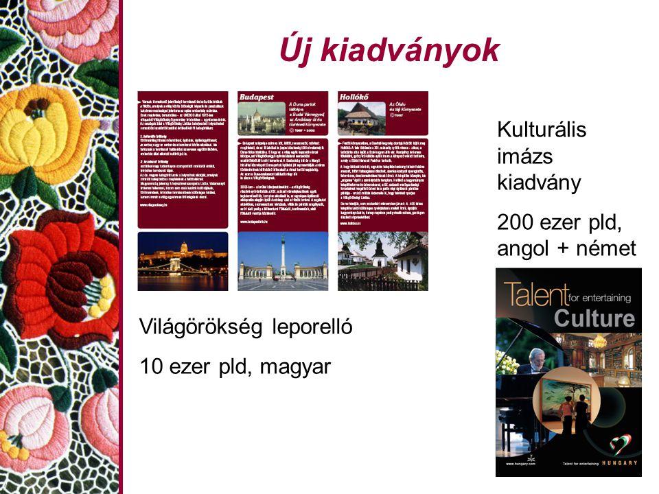 Új kiadványok Világörökség leporelló 10 ezer pld, magyar Kulturális imázs kiadvány 200 ezer pld, angol + német