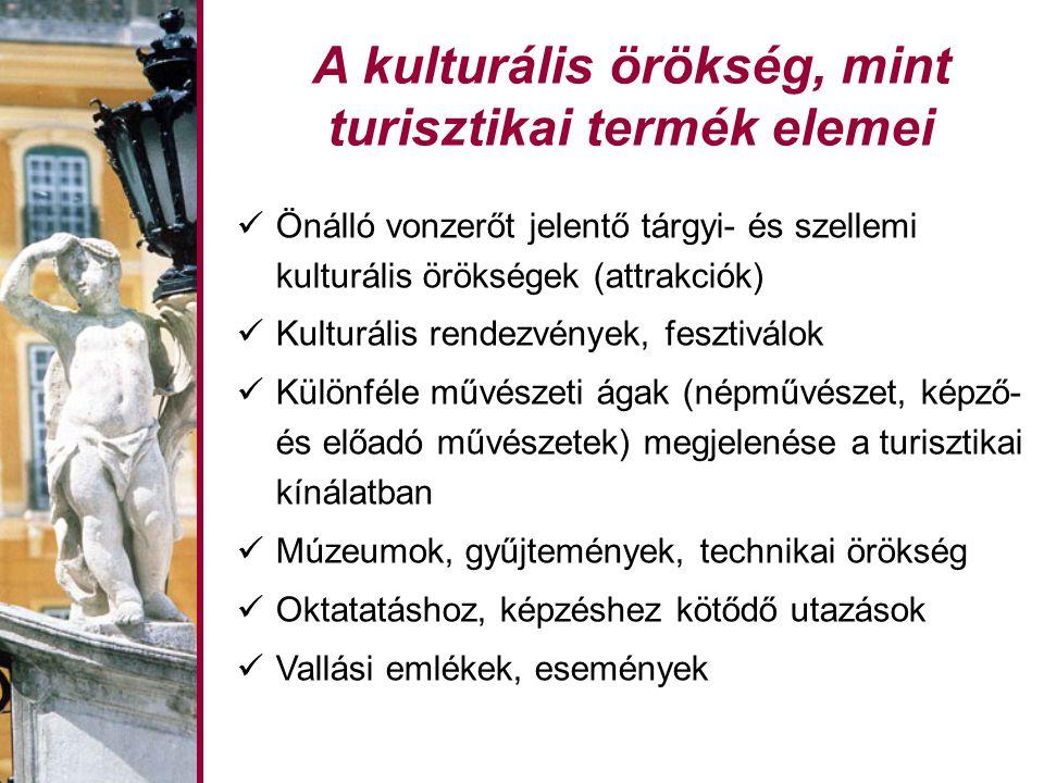 A kulturális örökség, mint turisztikai termék elemei Önálló vonzerőt jelentő tárgyi- és szellemi kulturális örökségek (attrakciók) Kulturális rendezvények, fesztiválok Különféle művészeti ágak (népművészet, képző- és előadó művészetek) megjelenése a turisztikai kínálatban Múzeumok, gyűjtemények, technikai örökség Oktatatáshoz, képzéshez kötődő utazások Vallási emlékek, események