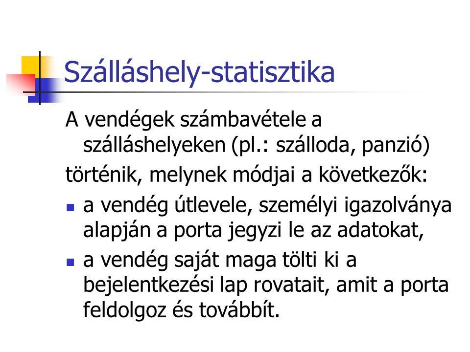 Szálláshely-statisztika A vendégek számbavétele a szálláshelyeken (pl.: szálloda, panzió) történik, melynek módjai a következők: a vendég útlevele, sz