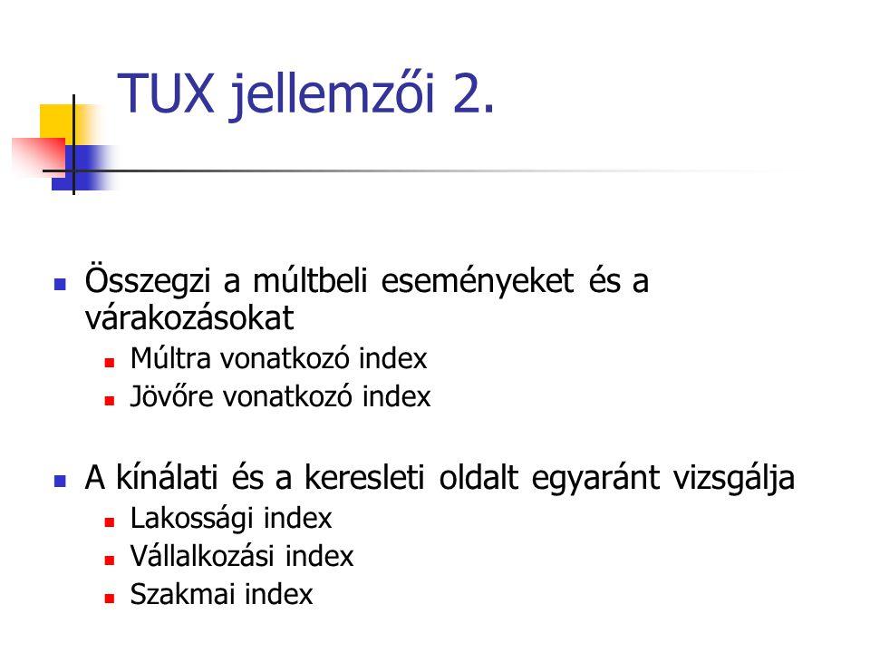 TUX jellemzői 2. Összegzi a múltbeli eseményeket és a várakozásokat Múltra vonatkozó index Jövőre vonatkozó index A kínálati és a keresleti oldalt egy
