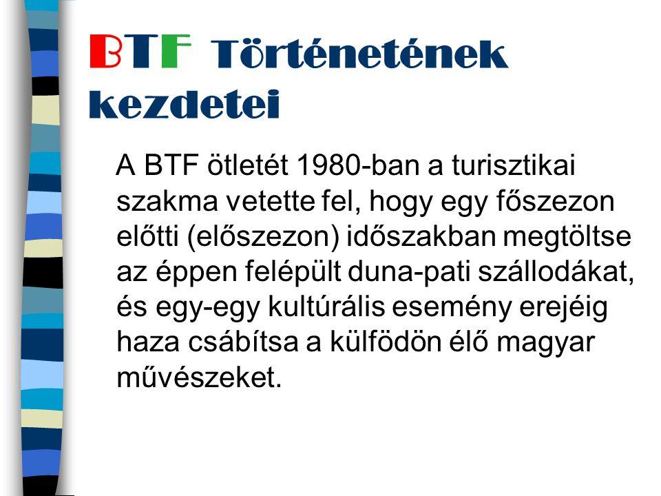 A BTF ötletét 1980-ban a turisztikai szakma vetette fel, hogy egy főszezon előtti (előszezon) időszakban megtöltse az éppen felépült duna-pati szállodákat, és egy-egy kultúrális esemény erejéig haza csábítsa a külfödön élő magyar művészeket.