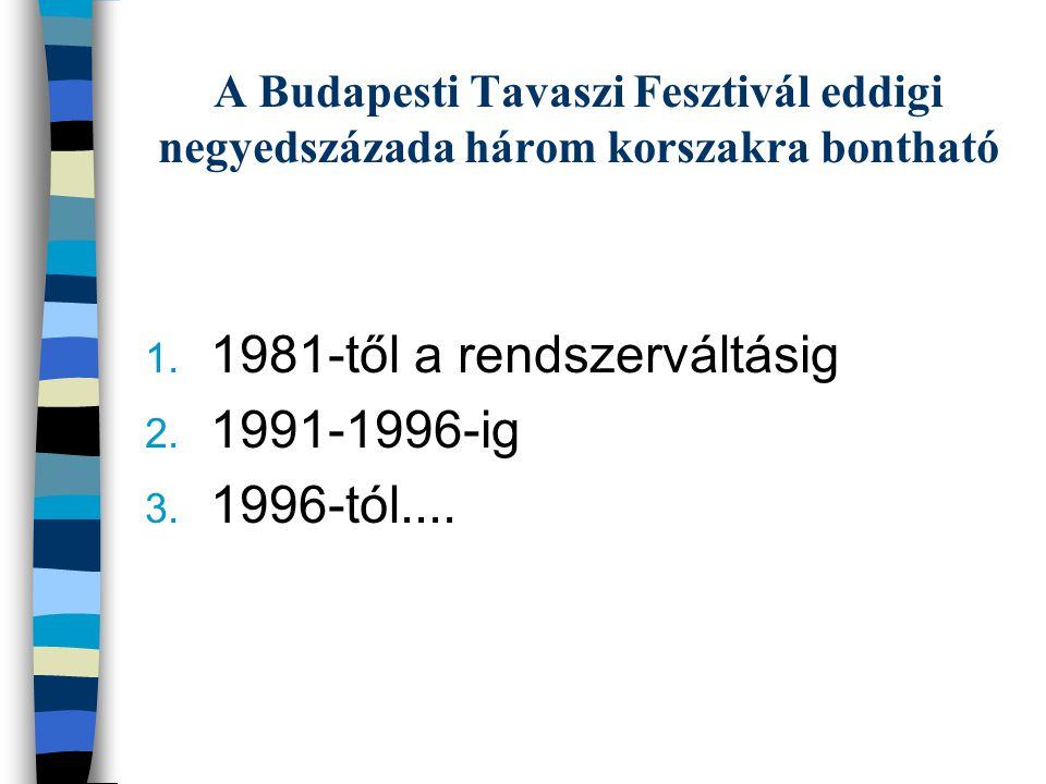 1.1981-től a rendszerváltásig 2. 1991-1996-ig 3. 1996-tól....