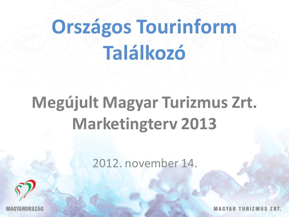 Országos Tourinform Találkozó Megújult Magyar Turizmus Zrt. Marketingterv 2013 2012. november 14.