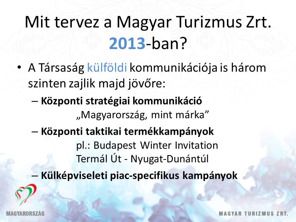 Mit tervez a Magyar Turizmus Zrt. 2013-ban? A Társaság külföldi kommunikációja is három szinten zajlik majd jövőre: – Központi stratégiai kommunikáció
