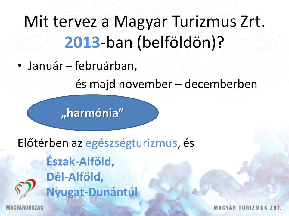 Mit tervez a Magyar Turizmus Zrt. 2013-ban (belföldön)? Január – februárban, és majd november – decemberben Előtérben az egészségturizmus, és Észak-Al