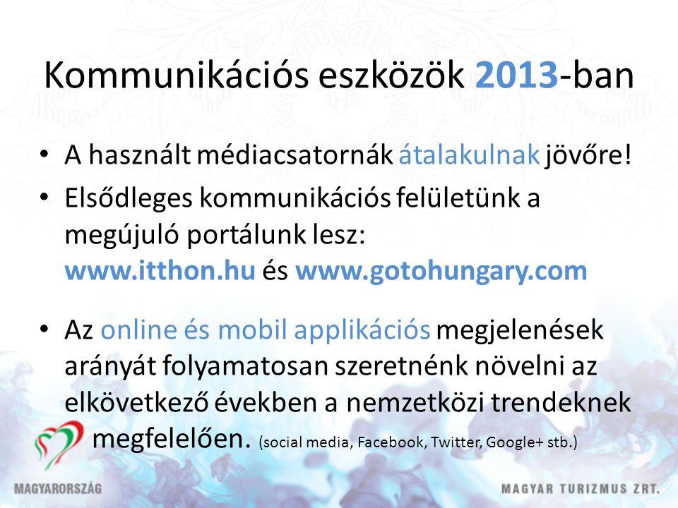 Kommunikációs eszközök 2013-ban A használt médiacsatornák átalakulnak jövőre! Elsődleges kommunikációs felületünk a megújuló portálunk lesz: www.ittho