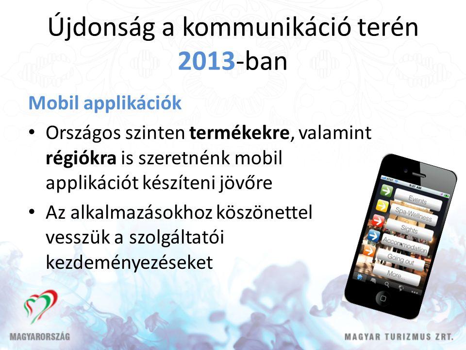 Újdonság a kommunikáció terén 2013-ban Mobil applikációk Országos szinten termékekre, valamint régiókra is szeretnénk mobil applikációt készíteni jövőre Az alkalmazásokhoz köszönettel vesszük a szolgáltatói kezdeményezéseket