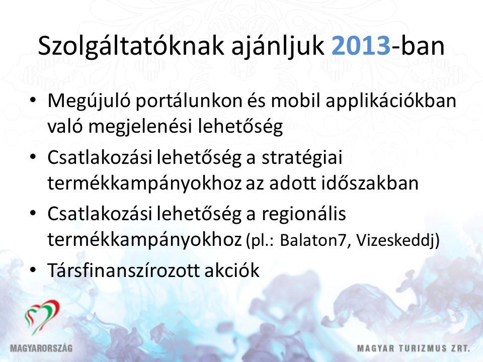 Szolgáltatóknak ajánljuk 2013-ban Megújuló portálunkon és mobil applikációkban való megjelenési lehetőség Csatlakozási lehetőség a stratégiai termékkampányokhoz az adott időszakban Csatlakozási lehetőség a regionális termékkampányokhoz (pl.: Balaton7, Vizeskeddj) Társfinanszírozott akciók