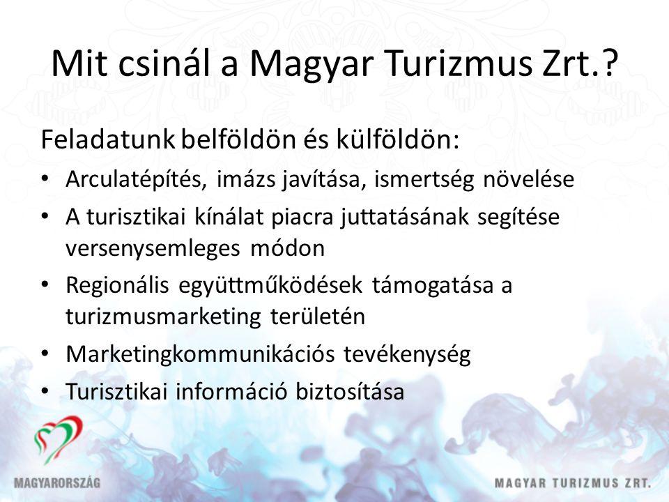 Mit csinál a Magyar Turizmus Zrt.? Feladatunk belföldön és külföldön: Arculatépítés, imázs javítása, ismertség növelése A turisztikai kínálat piacra j