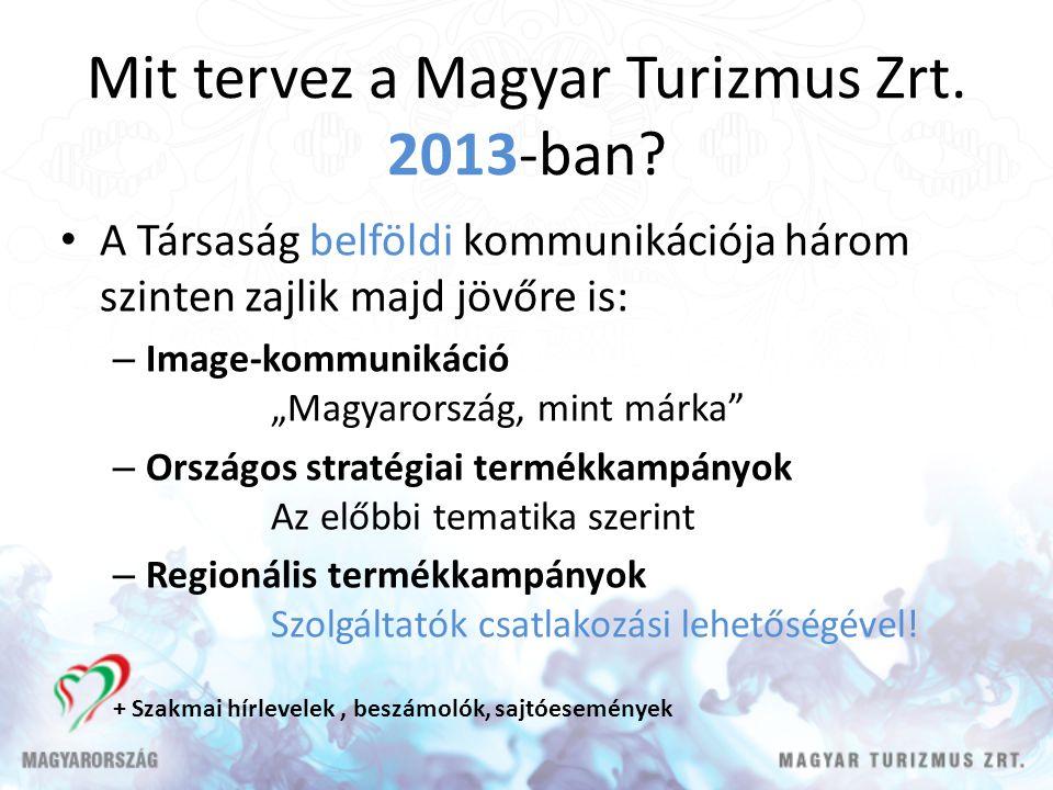 """Mit tervez a Magyar Turizmus Zrt. 2013-ban? A Társaság belföldi kommunikációja három szinten zajlik majd jövőre is: – Image-kommunikáció """"Magyarország"""