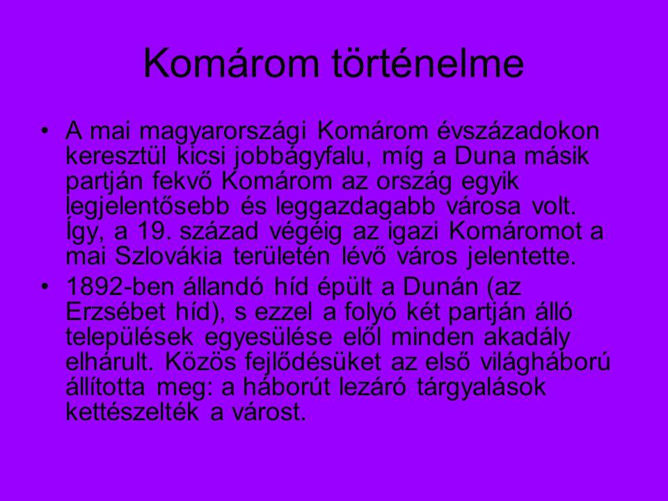 Komárom történelme A mai magyarországi Komárom évszázadokon keresztül kicsi jobbágyfalu, míg a Duna másik partján fekvő Komárom az ország egyik legjelentősebb és leggazdagabb városa volt.