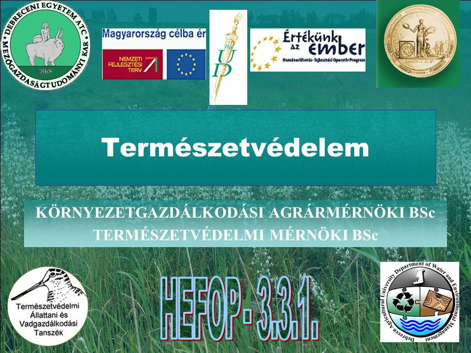 Természetvédelem KÖRNYEZETGAZDÁLKODÁSI AGRÁRMÉRNÖKI BSc TERMÉSZETVÉDELMI MÉRNÖKI BSc