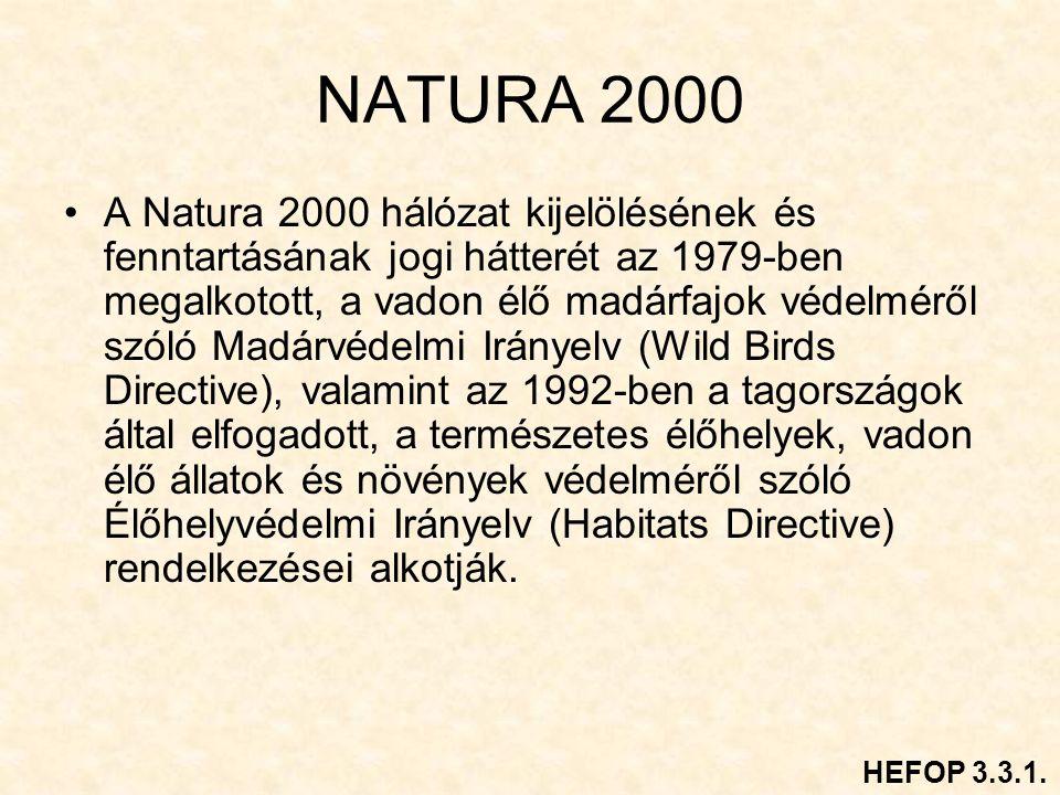 NATURA 2000 A Natura 2000 hálózat kijelölésének és fenntartásának jogi hátterét az 1979-ben megalkotott, a vadon élő madárfajok védelméről szóló Madárvédelmi Irányelv (Wild Birds Directive), valamint az 1992-ben a tagországok által elfogadott, a természetes élőhelyek, vadon élő állatok és növények védelméről szóló Élőhelyvédelmi Irányelv (Habitats Directive) rendelkezései alkotják.