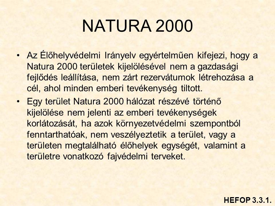 NATURA 2000 Az Élőhelyvédelmi Irányelv egyértelműen kifejezi, hogy a Natura 2000 területek kijelölésével nem a gazdasági fejlődés leállítása, nem zárt rezervátumok létrehozása a cél, ahol minden emberi tevékenység tiltott.