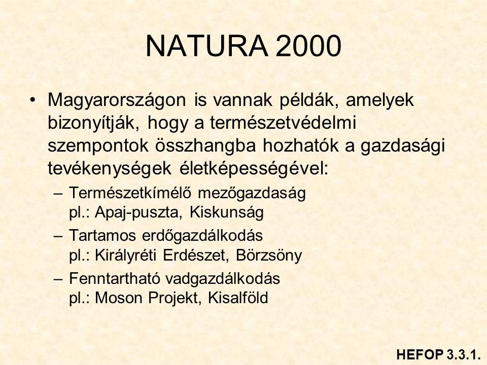 NATURA 2000 Magyarországon is vannak példák, amelyek bizonyítják, hogy a természetvédelmi szempontok összhangba hozhatók a gazdasági tevékenységek életképességével: –Természetkímélő mezőgazdaság pl.: Apaj-puszta, Kiskunság –Tartamos erdőgazdálkodás pl.: Királyréti Erdészet, Börzsöny –Fenntartható vadgazdálkodás pl.: Moson Projekt, Kisalföld HEFOP 3.3.1.