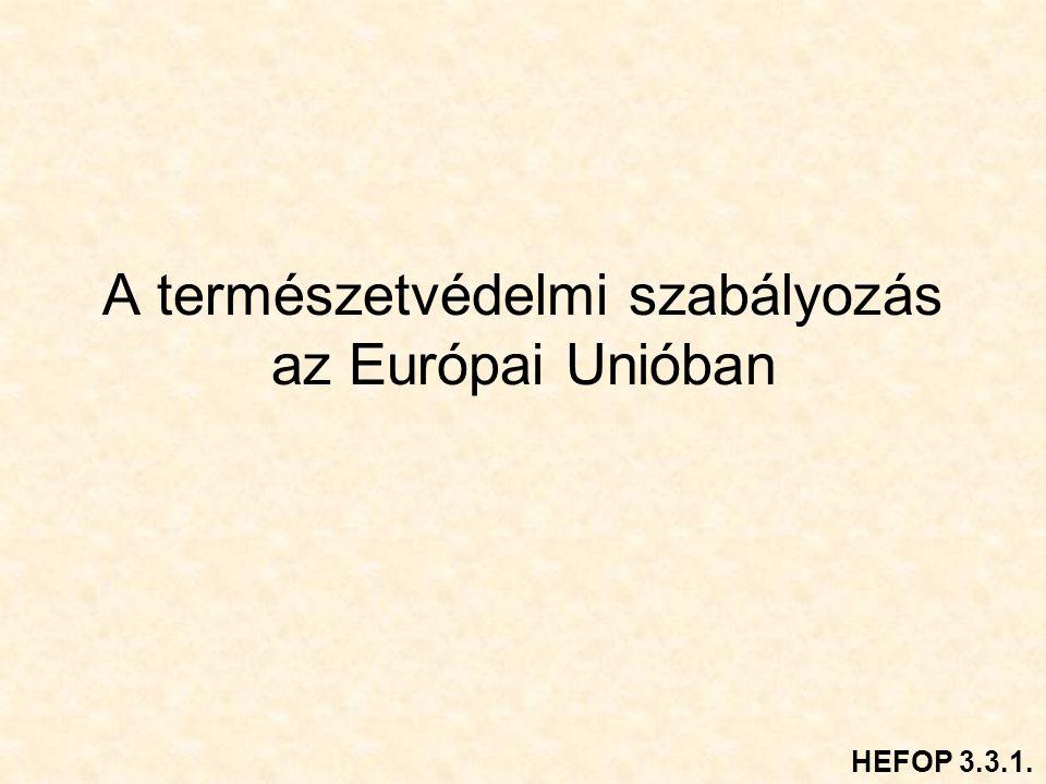 A természetvédelmi szabályozás az Európai Unióban HEFOP 3.3.1.