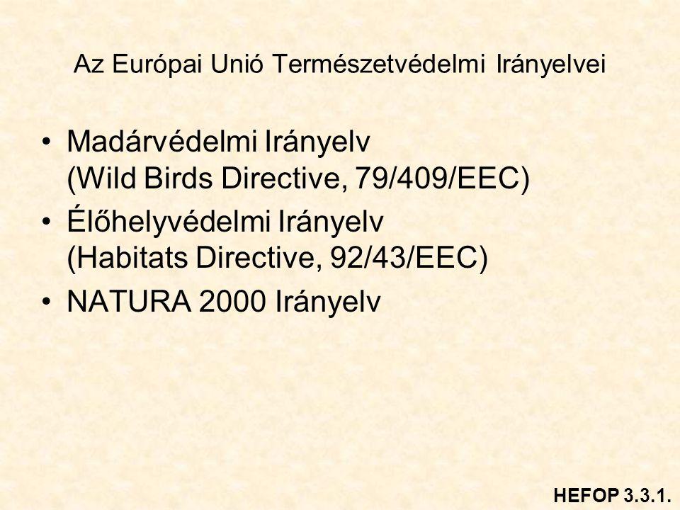 Az Európai Unió Természetvédelmi Irányelvei Madárvédelmi Irányelv (Wild Birds Directive, 79/409/EEC) Élőhelyvédelmi Irányelv (Habitats Directive, 92/43/EEC) NATURA 2000 Irányelv HEFOP 3.3.1.