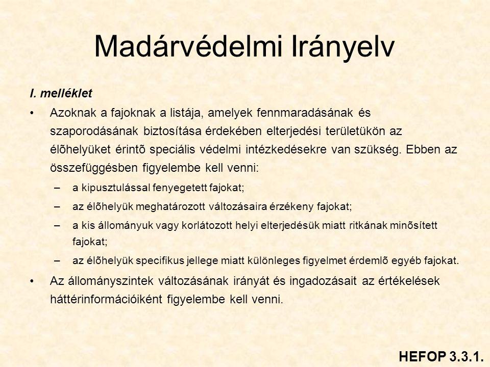 Madárvédelmi Irányelv I.