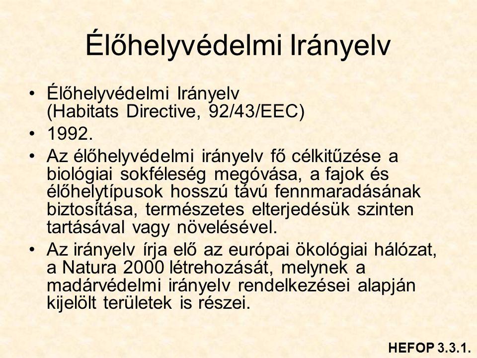 Élőhelyvédelmi Irányelv Élőhelyvédelmi Irányelv (Habitats Directive, 92/43/EEC) 1992.