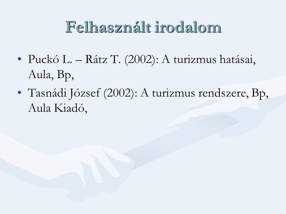 Felhasznált irodalom Puckó L. – Rátz T. (2002): A turizmus hatásai, Aula, Bp,Puckó L. – Rátz T. (2002): A turizmus hatásai, Aula, Bp, Tasnádi József (