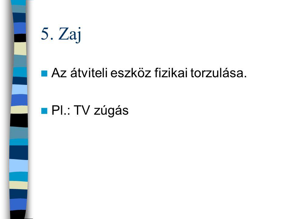 4. Átvitel Az üzenet átvitelére szolgáló eszköz (medium) Lehet: –Személyes/kétirányú (pl.: szállodai portás) –Személytelen/egyirányú (pl.: rádió, TV,