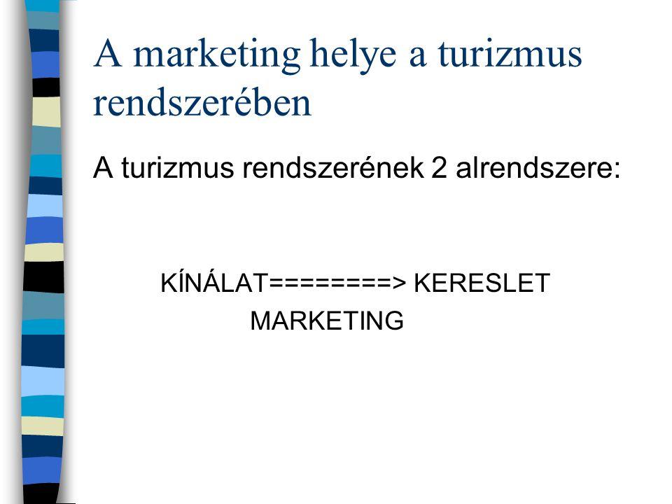 Turizmusmarketing Nem önálló tudományág, hanem a marketing alkalmazása, a marketing alapelvek adaptációja a turizmusra.