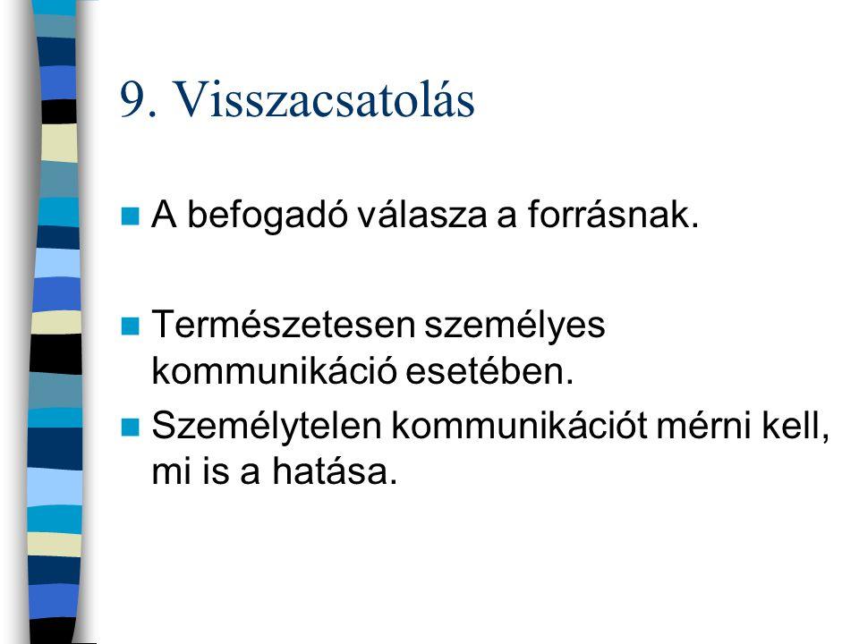 8. Válasz Ideális esetben a fogyasztó kívánt cselekvése Pl.: turizmusban a válasz az út megvásárlása