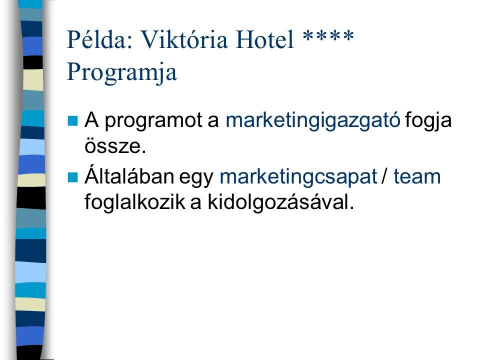 Példa: Viktória Hotel **** Feladatok felosztása lehet: piaci szegmensek alapján vagy szolgáltatásfajták szerint. Példa: –Értékesítés:utazási irodákon