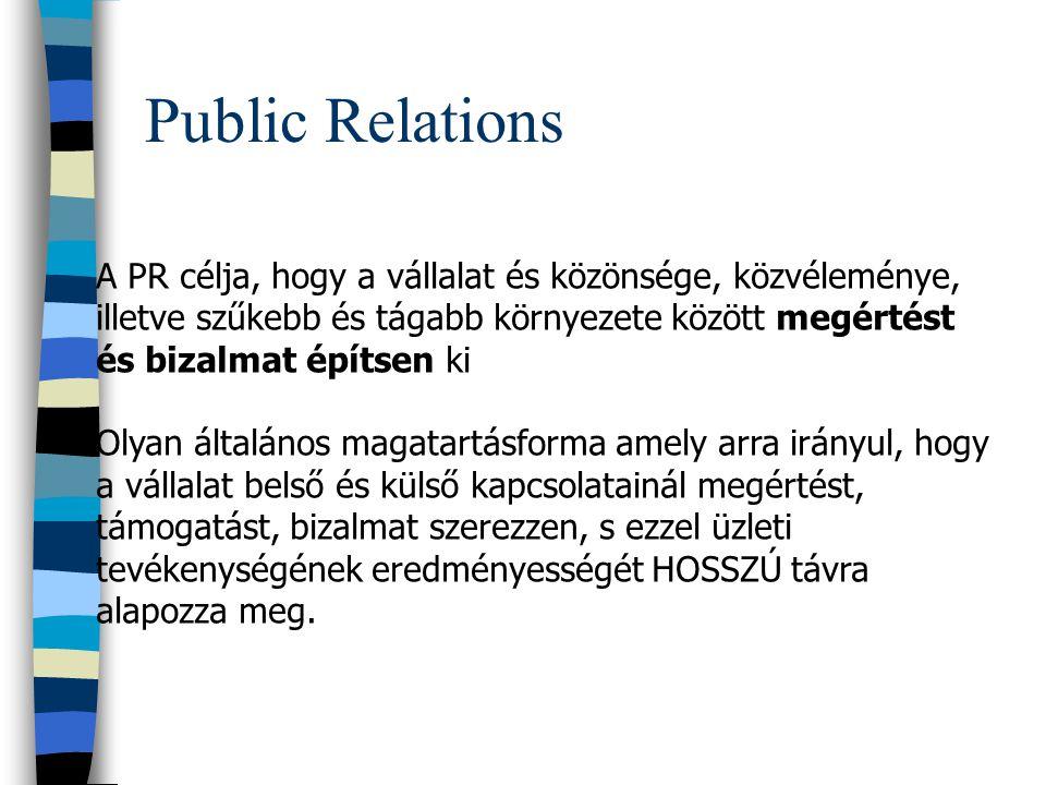 PR = Public Relations Kapcsolatszervezés Közönségkapcsolatok (Pl: turisztikai kiállítás és szakvásár) Külső kapcsolatok (potenciális turisták, üzleti