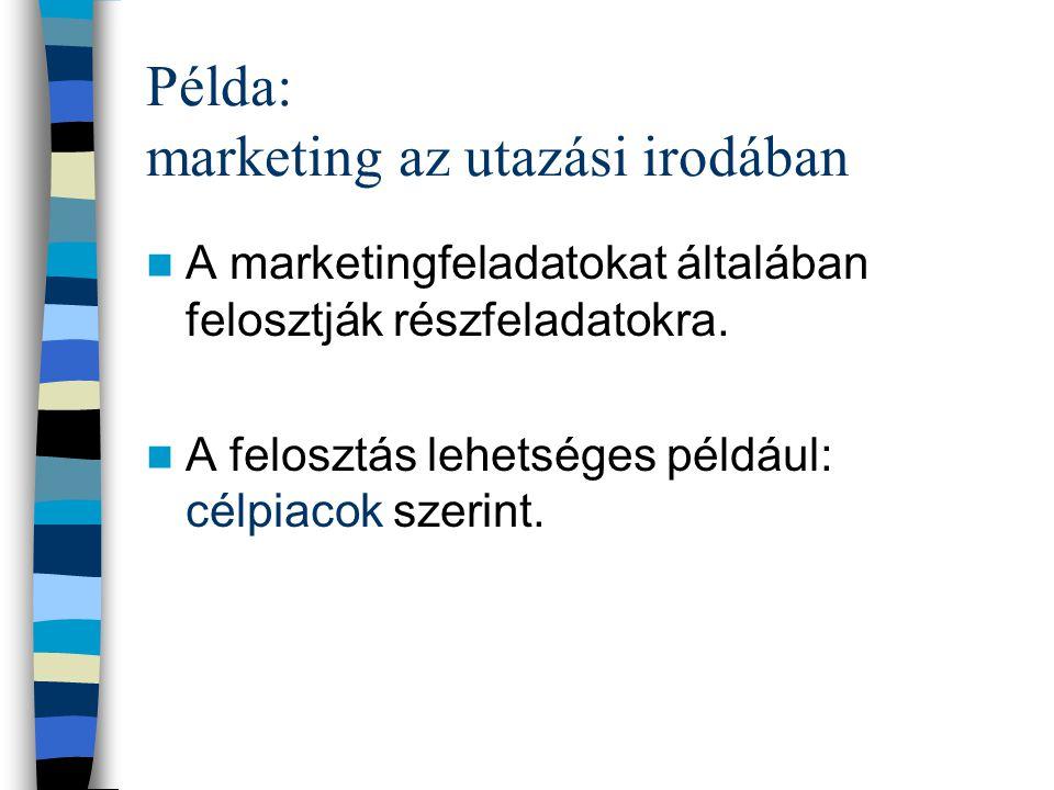 Példa: Utazási iroda marketingmunkája Megelőző munka, hiszen az utazás megkezdése előtt van szükség a marketingre. Pl.: piackutatás, disztribúciós csa