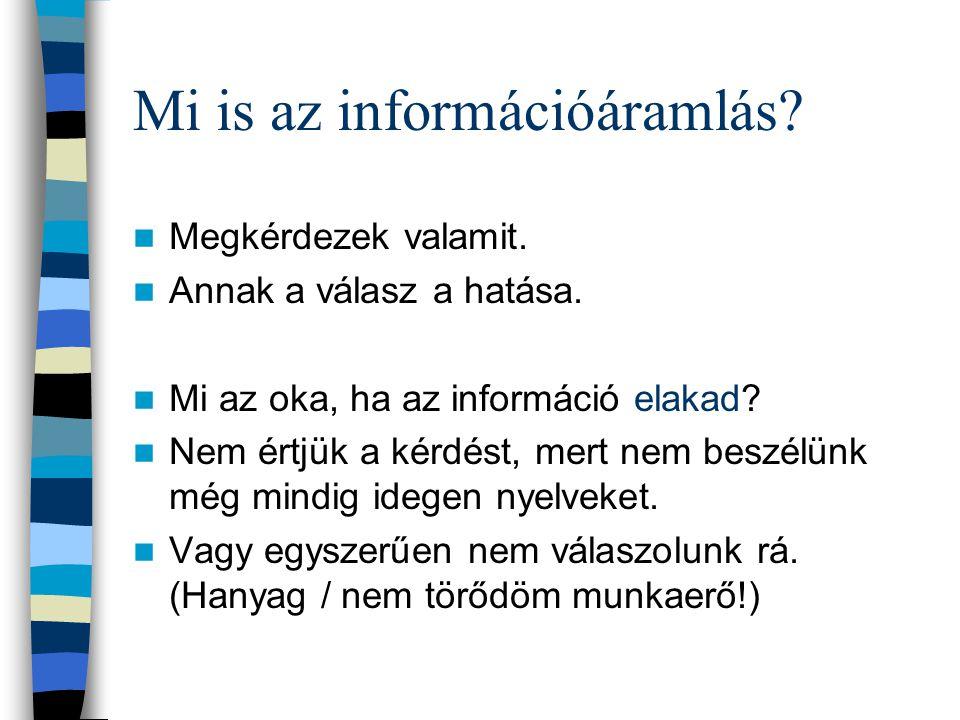 3. Információáramlás megszervezése Fajtái: 1. Külső információáralás (partnerekkel, konkurenciával, turistákkal) –Primer információk –Szekunder inform