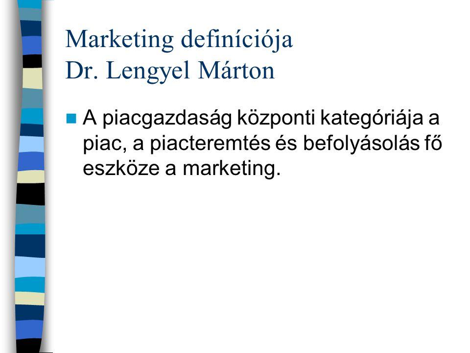 """Marketing definíciója (Kotler) """"a marketing társadalmi és vezetési lépések láncolata, amelynek során az egyének és csoportok termékeket és értékeket a"""