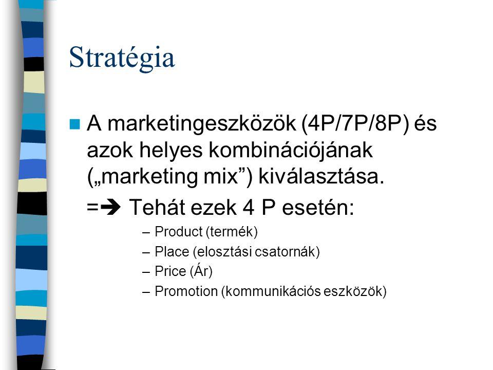 Marketingstratégia A stratégia azt határozza meg, hogy az adott célpiacokon mi módon, milyen eszközkombinációk alkalmazásával érhetjük el a marketingc