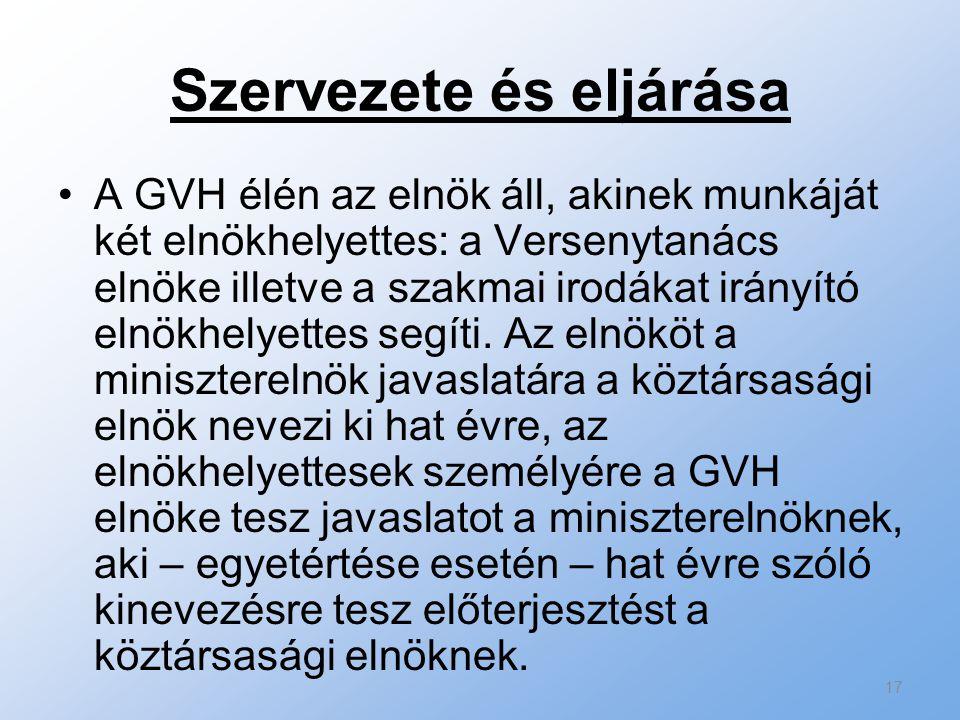Szervezete és eljárása A GVH élén az elnök áll, akinek munkáját két elnökhelyettes: a Versenytanács elnöke illetve a szakmai irodákat irányító elnökhe