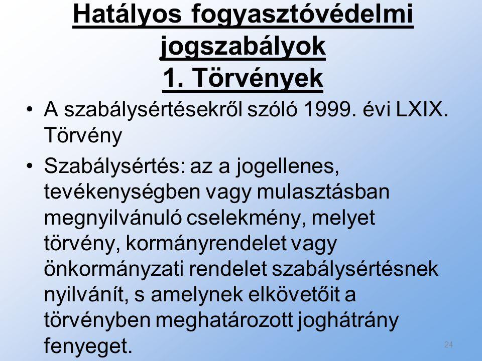 Hatályos fogyasztóvédelmi jogszabályok 1. Törvények A szabálysértésekről szóló 1999. évi LXIX. Törvény Szabálysértés: az a jogellenes, tevékenységben