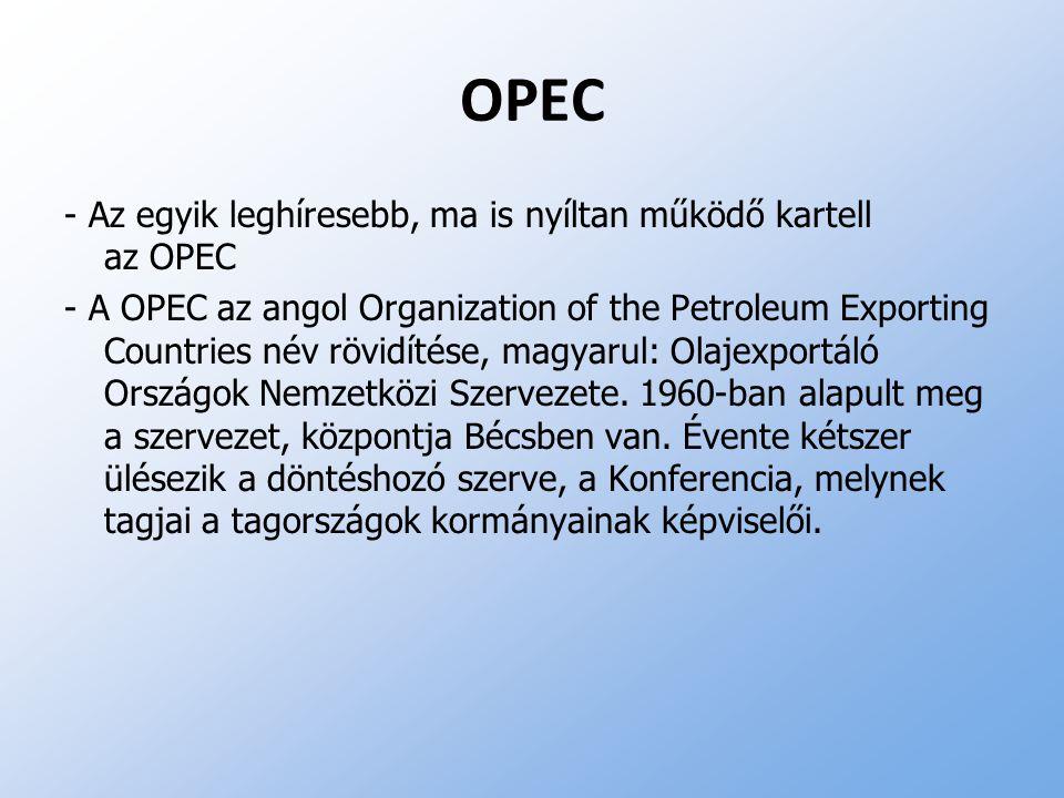 OPEC - Az egyik leghíresebb, ma is nyíltan működő kartell az OPEC - A OPEC az angol Organization of the Petroleum Exporting Countries név rövidítése,