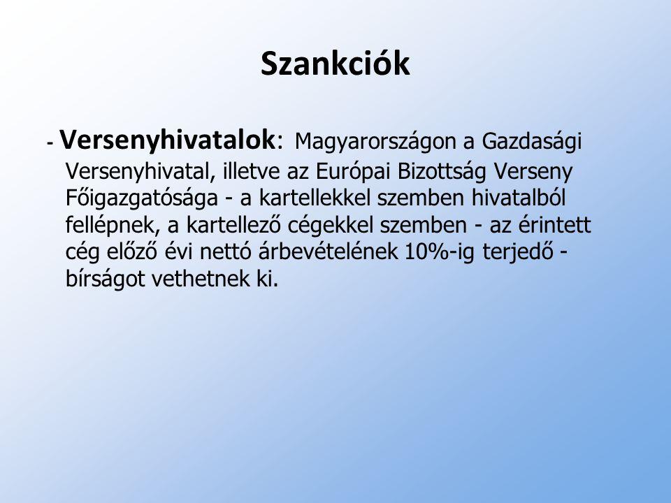 Szankciók - Versenyhivatalok: Magyarországon a Gazdasági Versenyhivatal, illetve az Európai Bizottság Verseny Főigazgatósága - a kartellekkel szemben