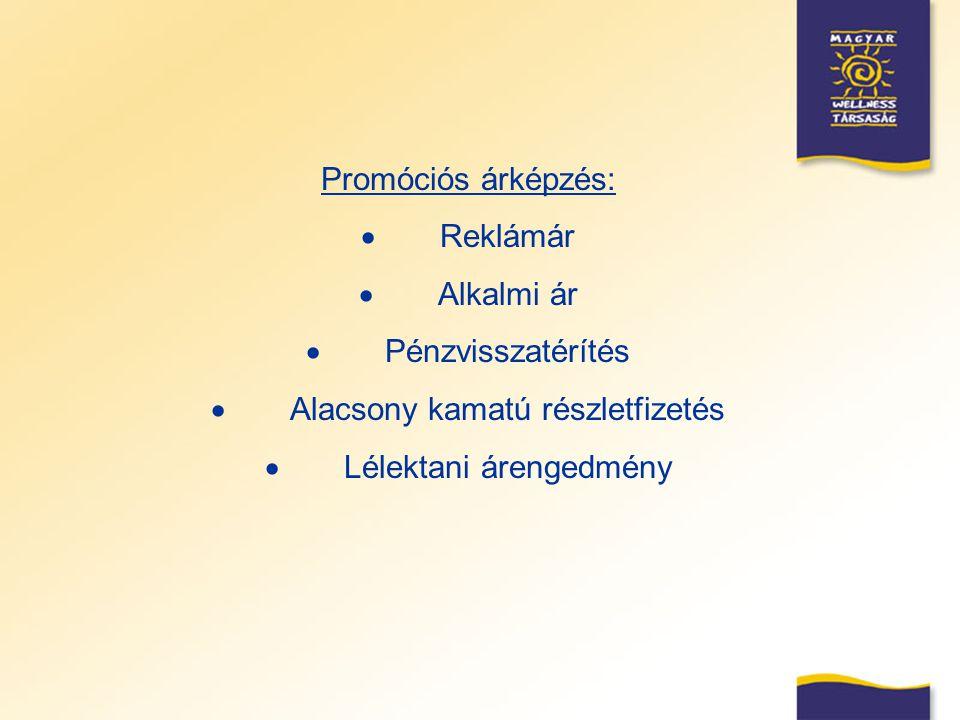 Promóciós árképzés:  Reklámár  Alkalmi ár  Pénzvisszatérítés  Alacsony kamatú részletfizetés  Lélektani árengedmény