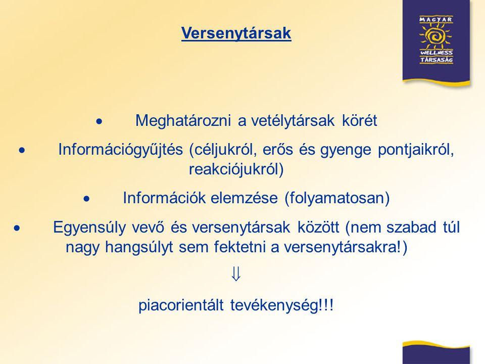 Versenytársak  Meghatározni a vetélytársak körét  Információgyűjtés (céljukról, erős és gyenge pontjaikról, reakciójukról)  Információk elemzése (f