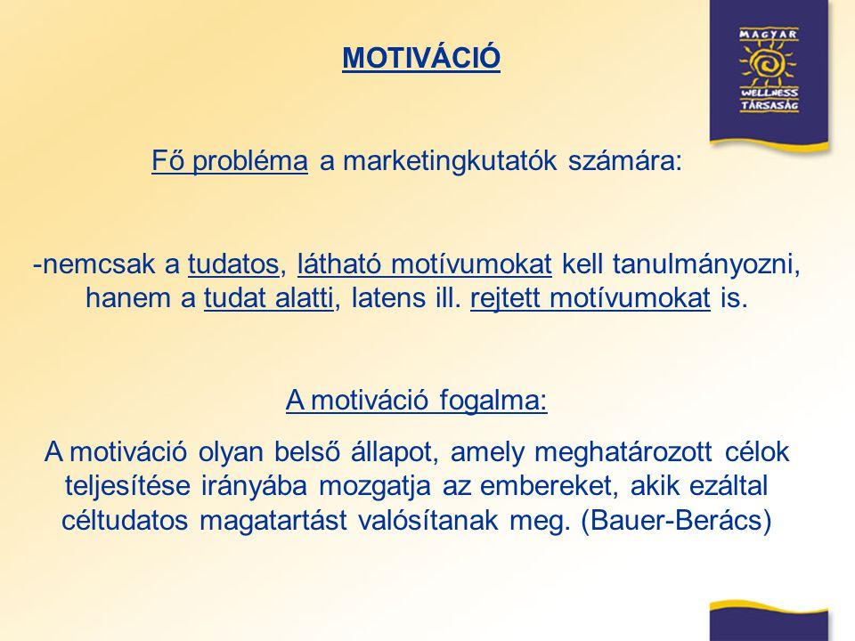 MOTIVÁCIÓ Fő probléma a marketingkutatók számára: -nemcsak a tudatos, látható motívumokat kell tanulmányozni, hanem a tudat alatti, latens ill. rejtet