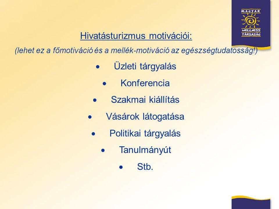 Hivatásturizmus motivációi: (lehet ez a főmotiváció és a mellék-motiváció az egészségtudatosság!)  Üzleti tárgyalás  Konferencia  Szakmai kiállítás
