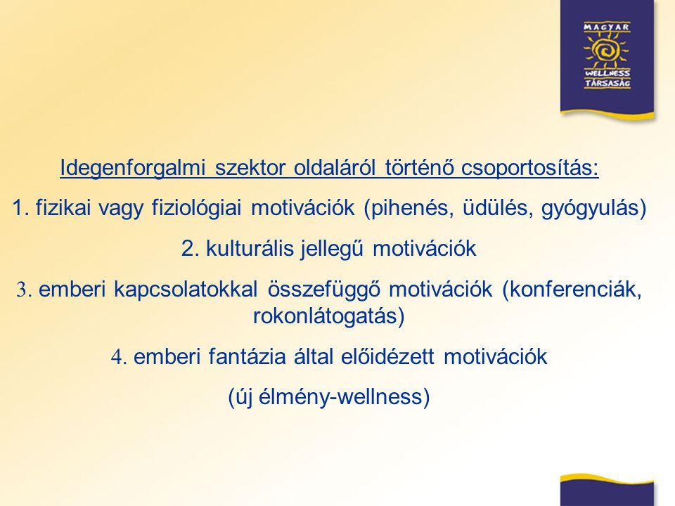 Idegenforgalmi szektor oldaláról történő csoportosítás: 1. fizikai vagy fiziológiai motivációk (pihenés, üdülés, gyógyulás) 2. kulturális jellegű moti