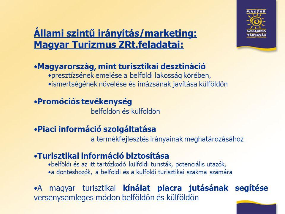 Állami szintű irányítás/marketing: Magyar Turizmus ZRt.feladatai: Magyarország, mint turisztikai desztináció presztízsének emelése a belföldi lakosság